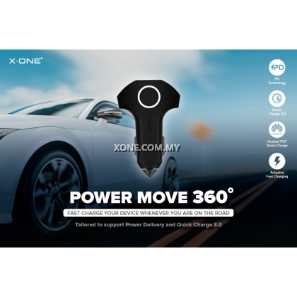 X-One® Power Move 360° ( 3-port Ultra Fast In-car Charger with PD and QC 3.0 )