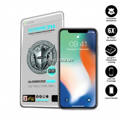 "Apple iPhone X ( 5.8"" ) X-One Extreme Shock Eliminator 7H ( 4th Generation ) Full Coverage Screen Protector"